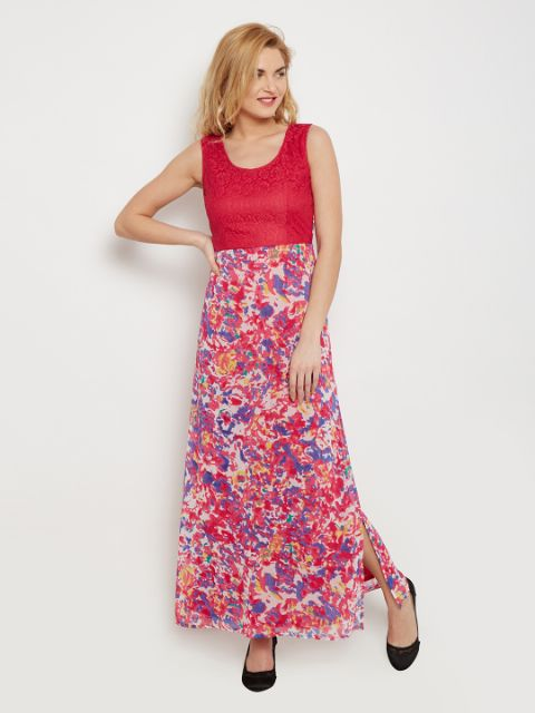 Maxi Dress In Fuchsia Print With Lace Overlay At Body Part /DRF500451