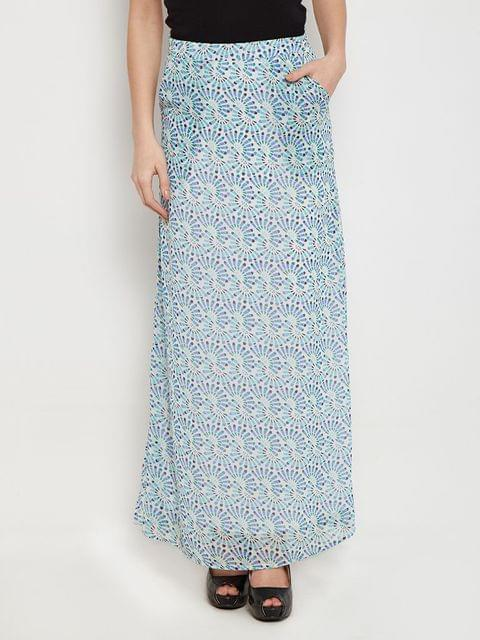 Maxi Skirt In Blue Print With Side Pocket Detail /SKF350136