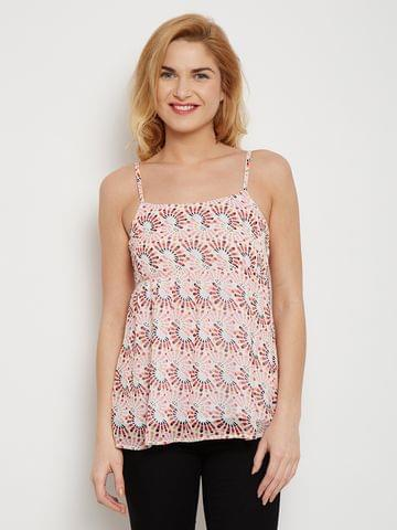 Camisole Red Printed Top Flourished With Smocking At The Back /TSF400607