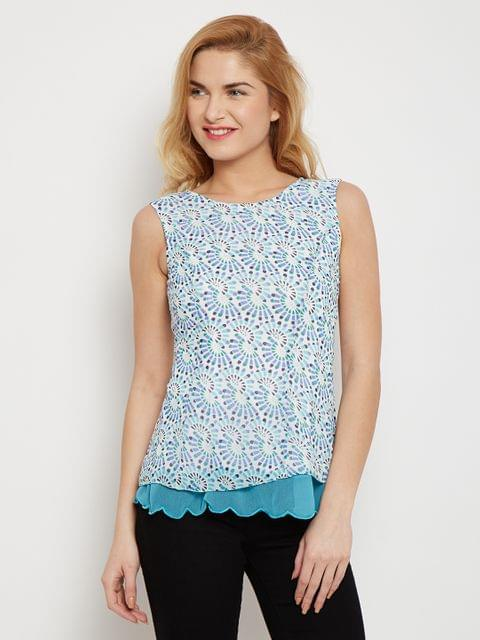 Double Layer Top In Blue Print With Scalloped Edges /TSF400608