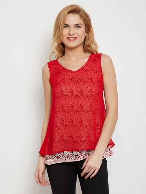Double Layer Top In Red Color With Overlapped Back /TSF400604