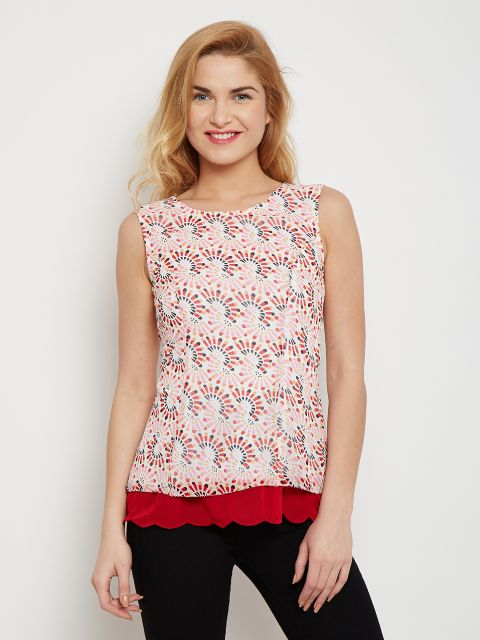 Double Layer Top In Red Print With Scalloped Edges /TSF400609