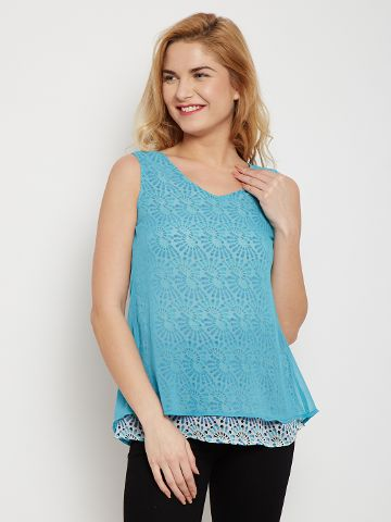 Double Layer Top In Blue Color With Overlapped Back /TSF400605