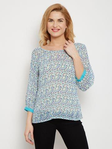 Sheer Top In Blue Print With Solid Cuff Detailing /TSF400610