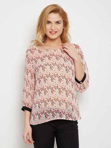Sheer Top In Red Print With Contrast Cuff Detailing /TSF400611