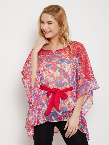 Kaftan Style Top In Fuchsia Color With Lace Overlay /TSF400612