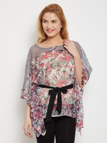 Kaftan Style Top In Grey Color With Lace Overlay /TSF400613