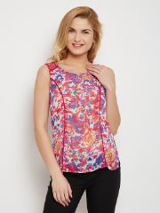 Tank Top In Fuchsia Print With Lace Overlay At Shoulder /TSF400618