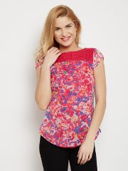 Boat Neck Top In Fuchsia Color With Lace Overlay At Sleeves /TSF400614