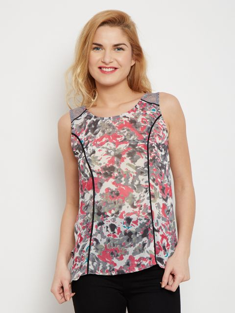 Tank Top In Grey Print With Lace Overlay At Shoulder /TSF400619