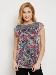 Boat Neck Top In Grey Color With Lace Overlay At Sleeves /TSF400615