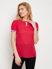 Pleated Sleeve Top In Fuchsia Color With Keyhole Detailing At Front /TSF400616