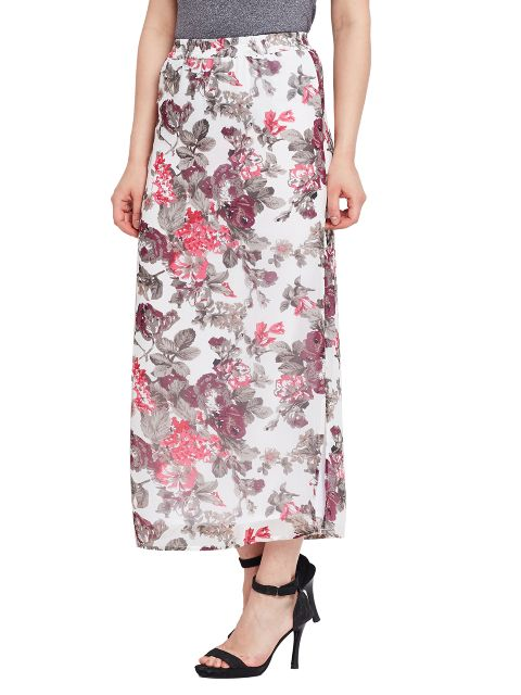 Floral printed straight maxi skirt with side slit / SKF350137