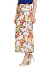 Floral printed straight maxi skirt with side slit / SKF350138