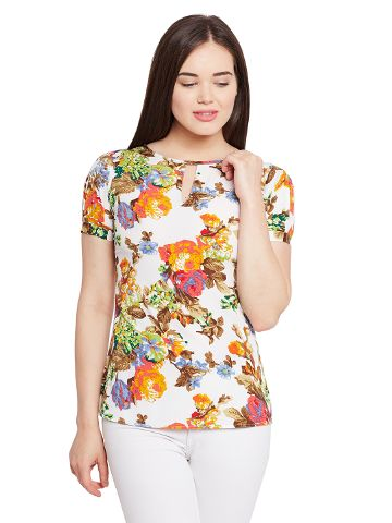 Pleated sleeve top in floral print with keyhole detailing at front / TSF400623