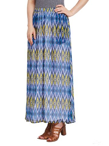 Flared skirt in blue print with side pocket detail / SKF350141