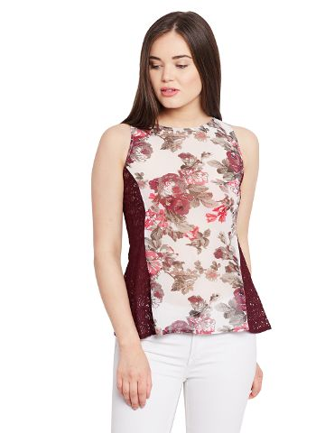 Tank top in floral print with lace overlay at side panels / TSF400624