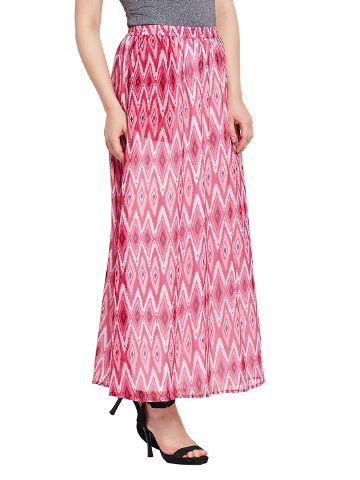 Flared skirt in marsala print with side pocket detail / SKF350142