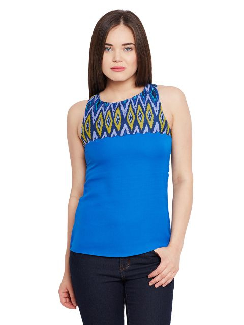 Back cut out top in blue color with printed scalloped yoke / TSF400634