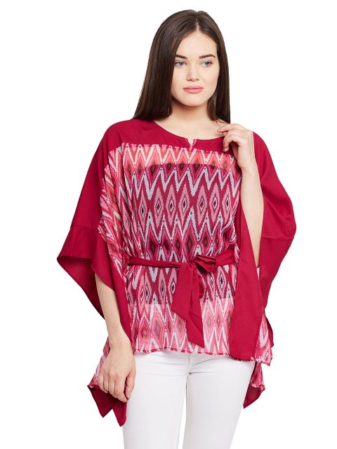 Kaftan style top in printed marsala color with solid front back yoke / TSF400640