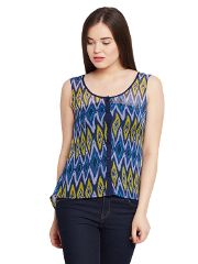 Front button down high low top in blue print / TSF400636
