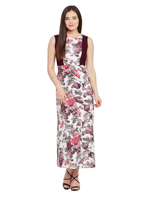 Side slit maxi dress in floral print with lace at side panel / DRF500465