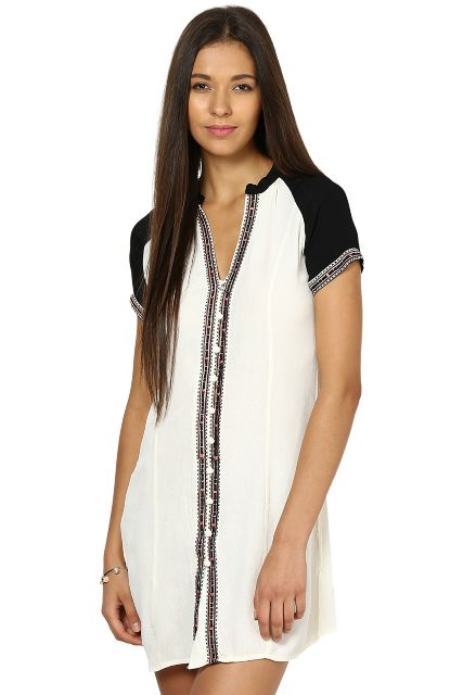 Off White Dress In Cotton Moss Fabric/ DRF2437-OFFWHITE-S