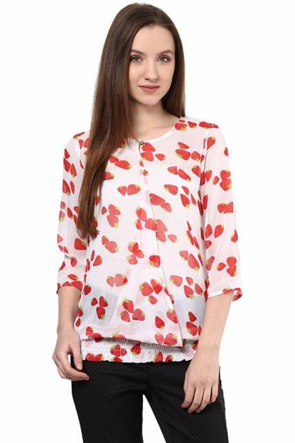 White Top In Strawberry Print/ TSF400277