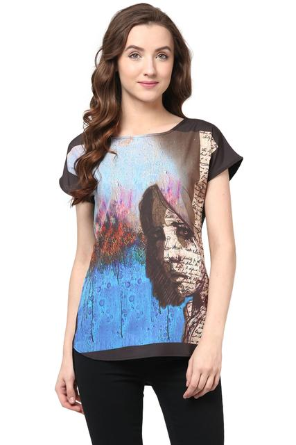 Digital Print Tee In Multi Color/ TSF400551