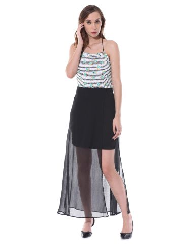 Halter neck bodycon dress in teal floral stripes and a sheer black overlay skirt / DRF500513