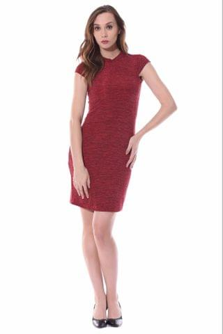 High neck bodycon dress in red melange / DRF500524