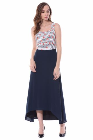 High low maxi dress in red floral stripes with back overlap / DRF500517