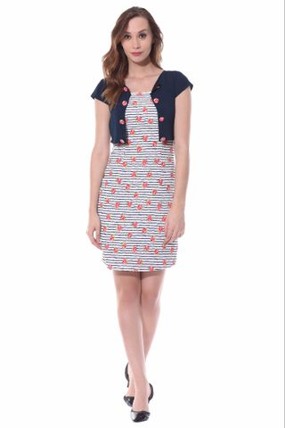 Bodycon dress in red floral stripes with a short jacket overlayed at the body part / DRF500526