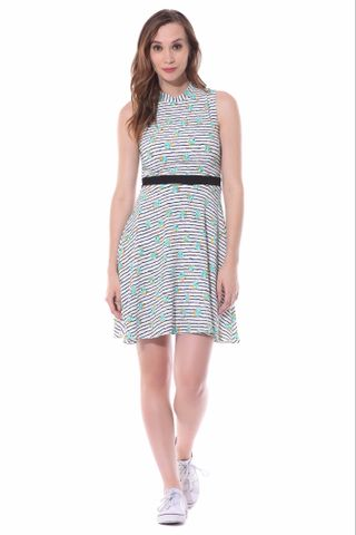 Skater dress in teal floral stripes with a thin waist band / DRF500521