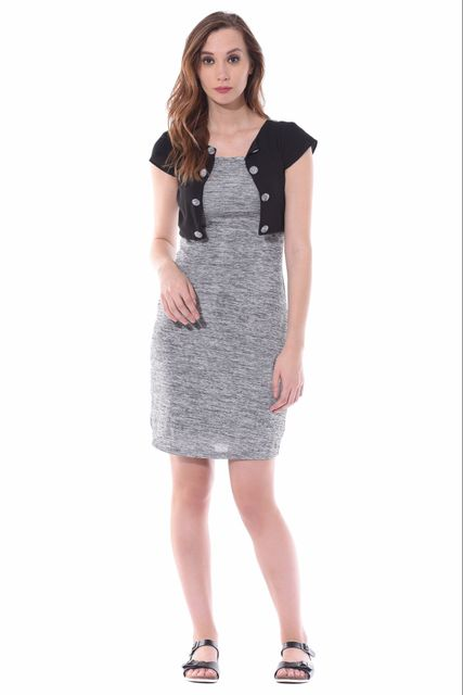 Bodycon dress in grey melange with a short jacket overlayed at the body part / DRF500527