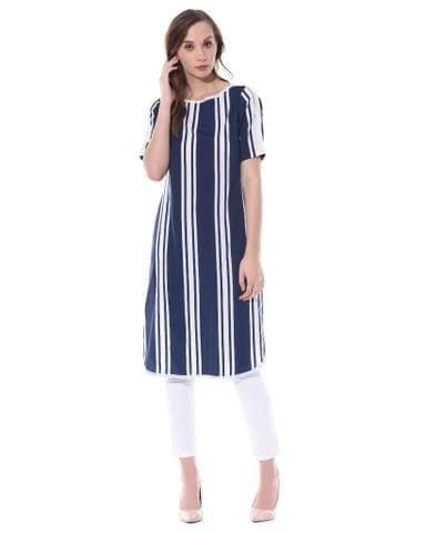 Boat neck kurta in vertical navy stripes / TSF400731