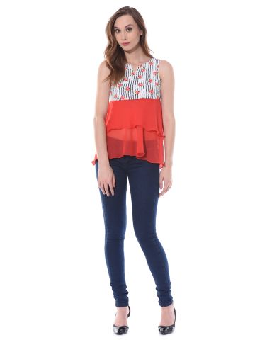 Double layer flare top in red floral stripes / TSF400652