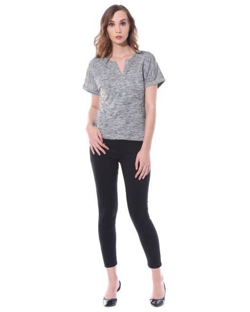 High low top in grey melange with side slits / TSF400654