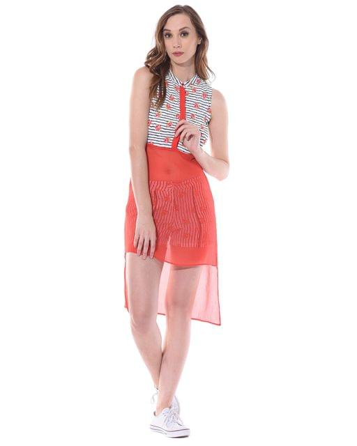 Front button down high low top in red floral stripes with high slits at sides / TSF400668