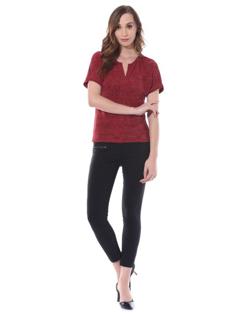 High low top in red melange with side slits / TSF400655