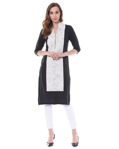 Black and white color blocked kurta / TSF400736