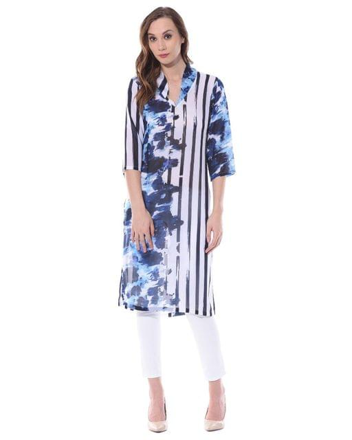 Vertical striped kurta in white color / TSF400732