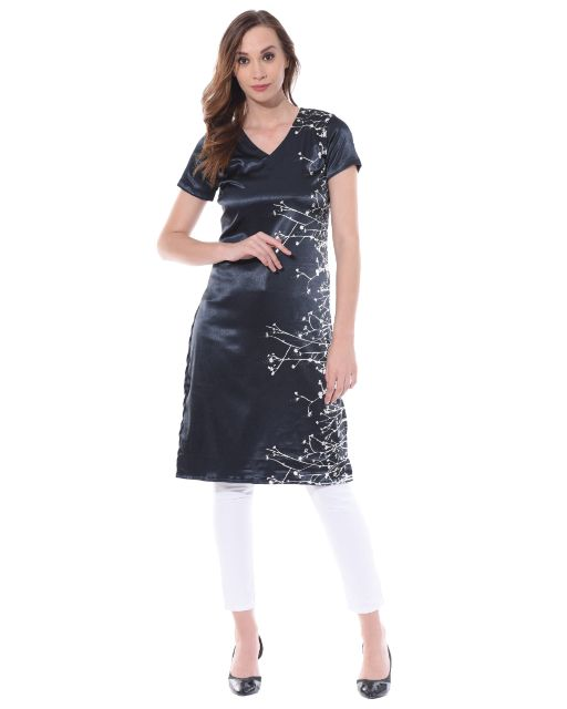 Deep V neck long kurta in black color / TSF400737