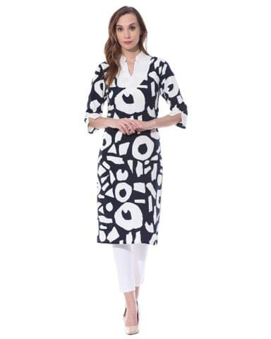 Broad V neck kurta in black and white print / TSF400733