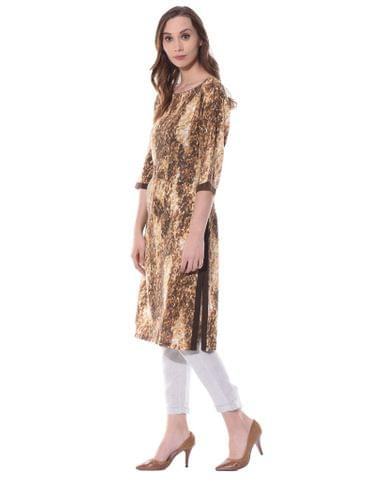 Boat neck kurta in animal print / TSF400738