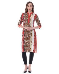 Front button down kurta in multi color print / TSF400734