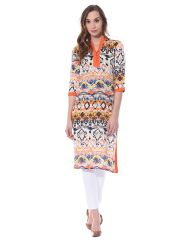 Front button down kurta in tribal print / TSF400739
