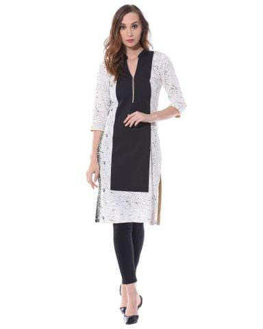 White and black color blocked kurta / TSF400735