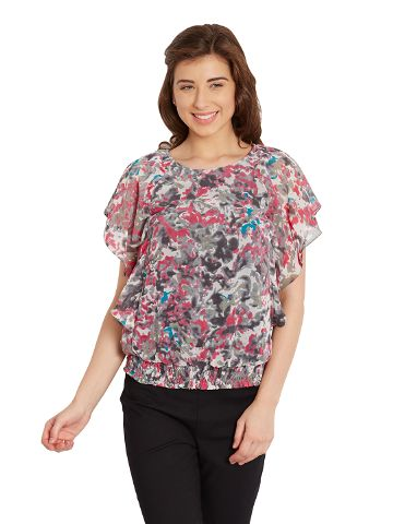 Double Layer Top In Grey Print/ TSF400675