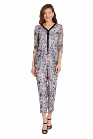 Front Button Down Jumper In Grey Print With Lace Overlay/ DRF500468